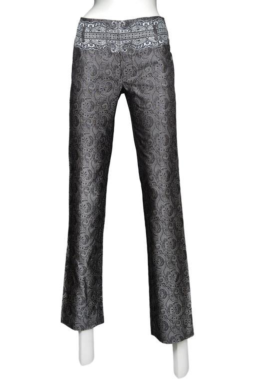 Women's Balenciaga Silver Paisely Blazer & Pants Suit 2006 For Sale