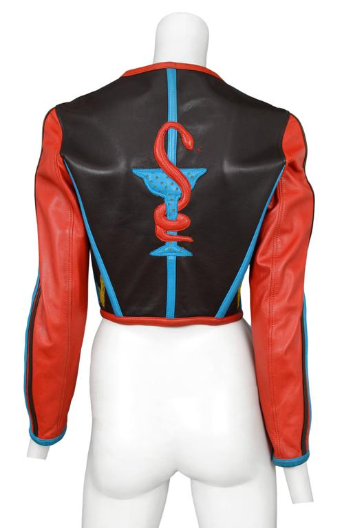 Gaultier Iconic Red & Blue Corset Leather Jacket 1991 In Excellent Condition In Los Angeles, CA