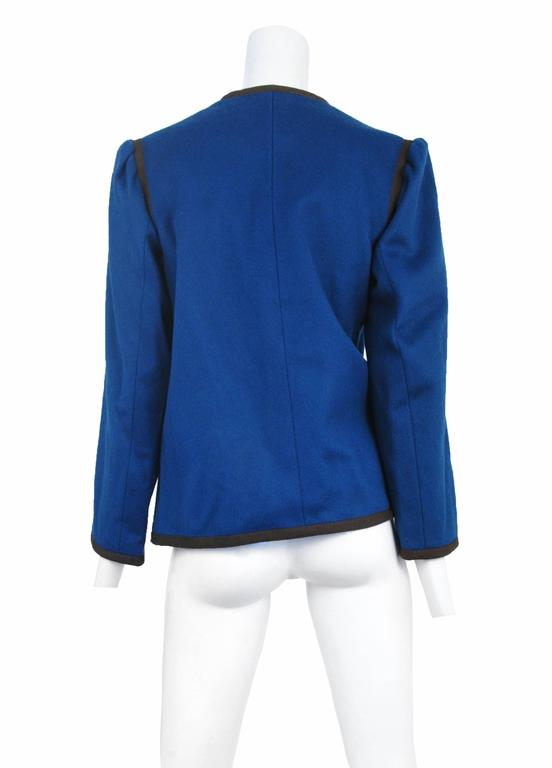 Yves Saint Laurent Blue Wool Jacket 1970s In Excellent Condition For Sale In Los Angeles, CA