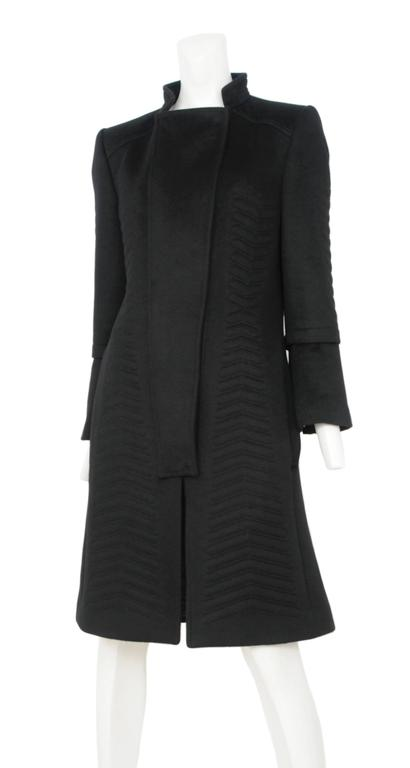 Vintage Tom Ford for Gucci black angora wool overcoat with chevron details. Beautifully tailored body with inserted cuff detail.