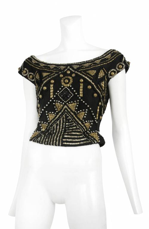 Versace Black & Brass Beaded Top 2