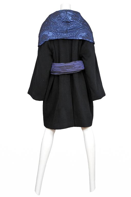 Black Romeo Gigli Blue Metallic Shawl Coat For Sale