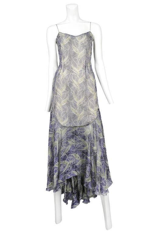 Chloe Blue & Green Feather Print Dress 1999 2