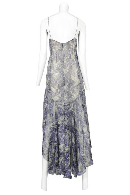 Chloe Blue & Green Feather Print Dress 1999 3