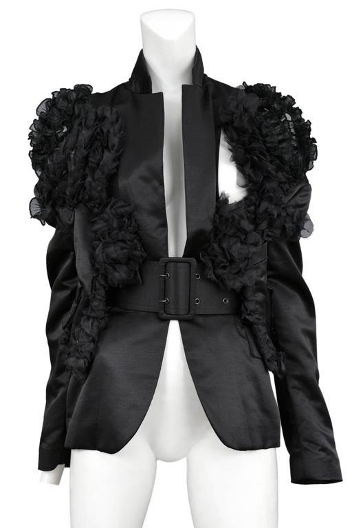 CDG Black Satin Ruffle Blazer 2007 2