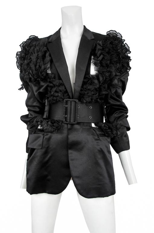 CDG Black Satin Ruffle Blazer 2007 3