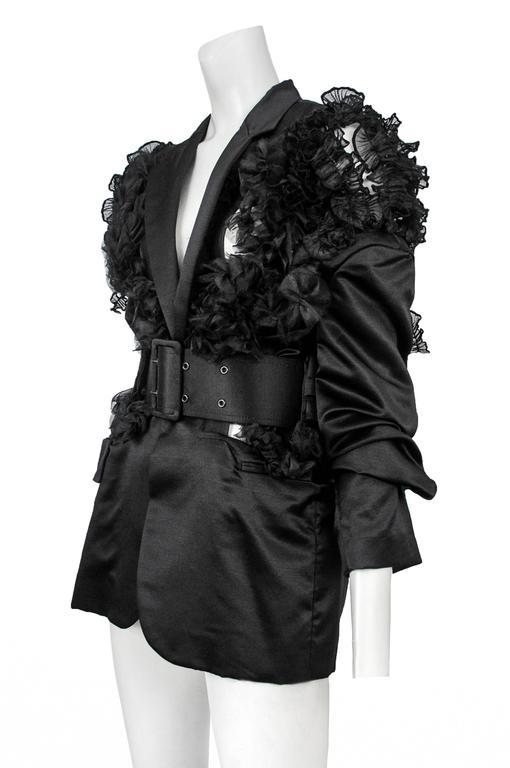 CDG Black Satin Ruffle Blazer 2007 4