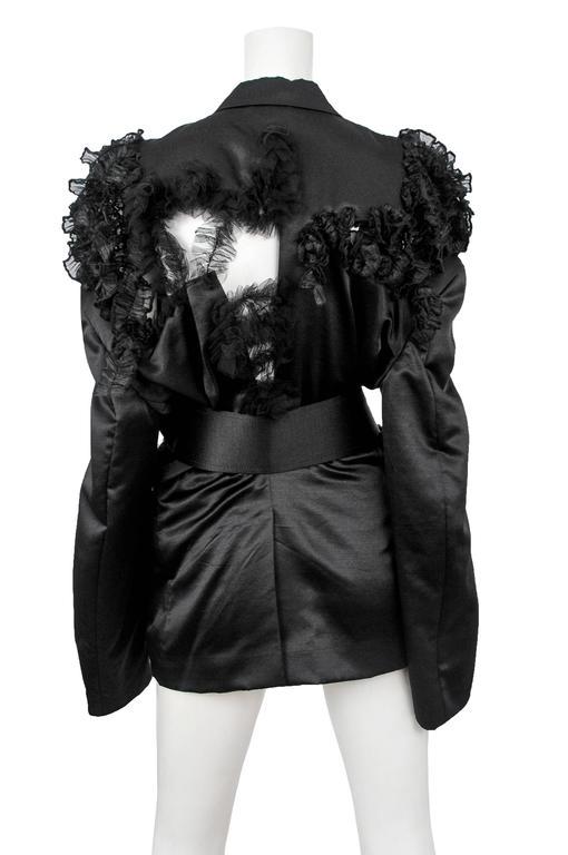 CDG Black Satin Ruffle Blazer 2007 5