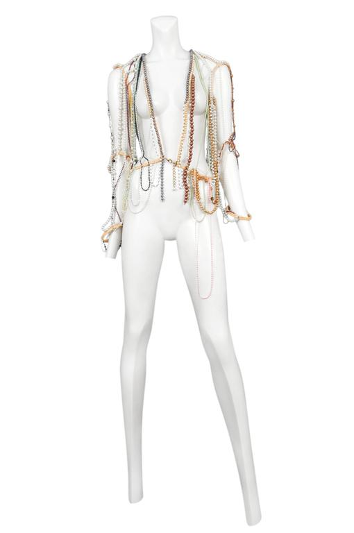 Vintage Maison Martin Margiela artisanal beaded jacket made from various vintage necklaces with hook and jump ring closure at front. 0 collection. Circa Summer 2006. Please inquire for additional images.