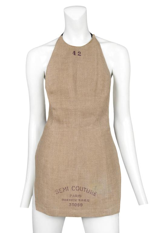 Iconic Vintage Maison Martin Margiela Semi-Couture dressmaker's bodice as an apron. Apron ties at back. From the 1997 Collection.