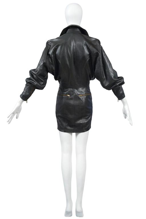 Women's Alaia Rare Leather Zipper Dress 1986 For Sale