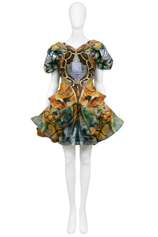 Vintage Alexander McQueen Plato's Atlantis organza dress featuring an allover multi-color digital print, short gathered sleeves and various tucks and gathers throughout the above the knee skirt. Runway piece from the Spring / Summer 2010 Collection.