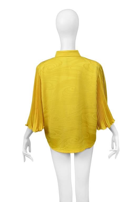 Pierre Cardin Couture Yellow Pleated Blouse In Excellent Condition For Sale In Los Angeles, CA