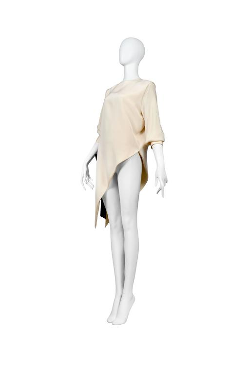 White Pierre Cardin Ivory Silk Asymmetrical Blouse with Black Bow  For Sale