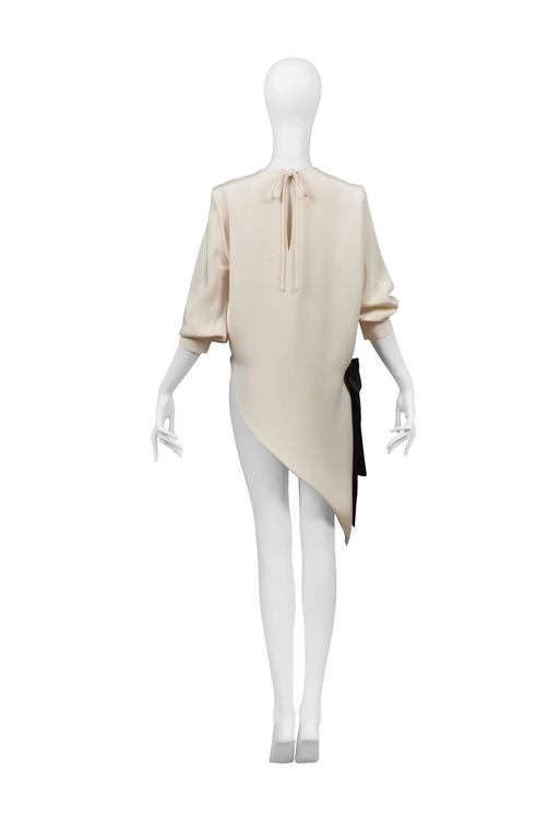 Pierre Cardin Ivory Silk Asymmetrical Blouse with Black Bow  In Excellent Condition For Sale In Los Angeles, CA