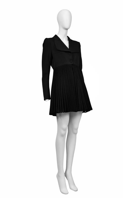 Alaia Black Pleated Skirt Coat 3
