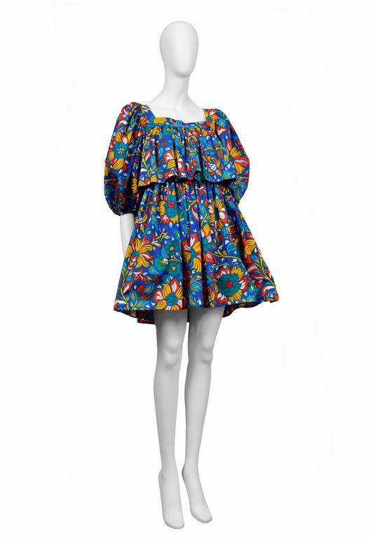 Yves Saint Laurent Blue Floral Peasant Dress 2