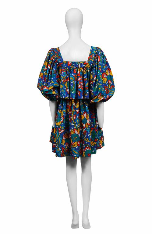 Yves Saint Laurent Blue Floral Peasant Dress 3