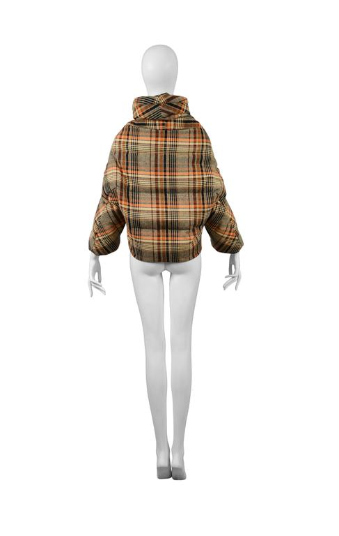 Brown Junya Plaid Wool Puffer 2004 For Sale