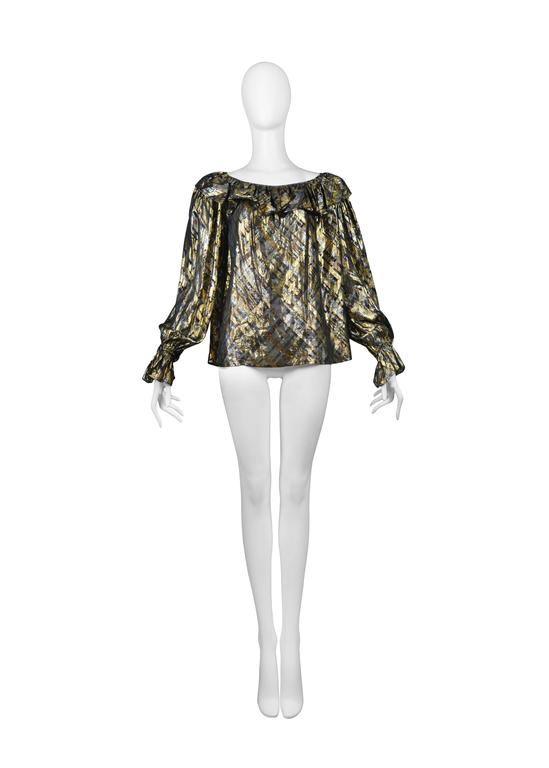 Yves Saint Laurent Gold Lame Plaid Ruffle Blouse 2