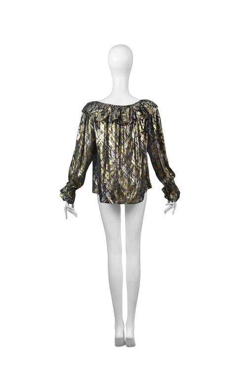 Yves Saint Laurent Gold Lame Plaid Ruffle Blouse 3