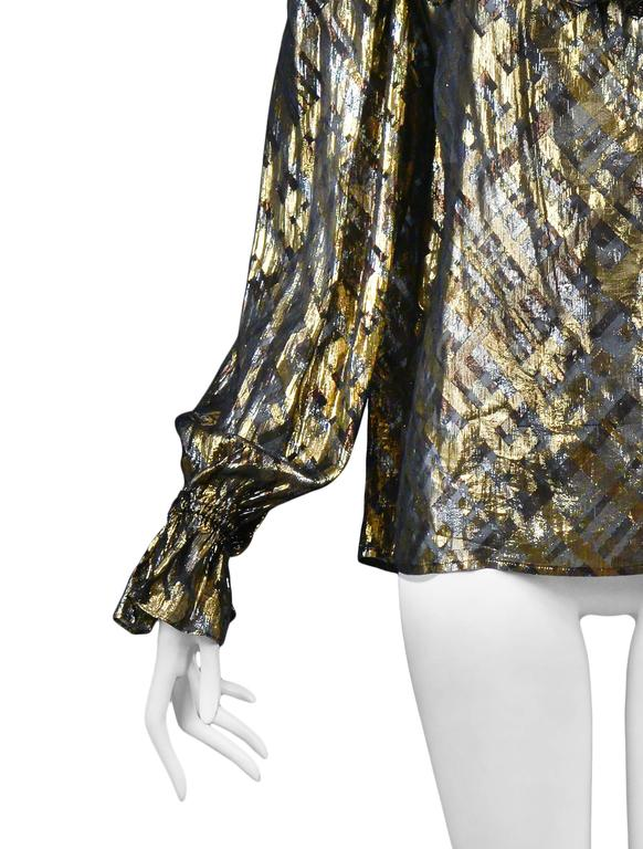 Yves Saint Laurent Gold Lame Plaid Ruffle Blouse 5