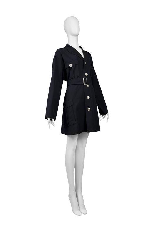 Yohji Yamamoto Black Military Button Belted Coat In Excellent Condition For Sale In Los Angeles, CA