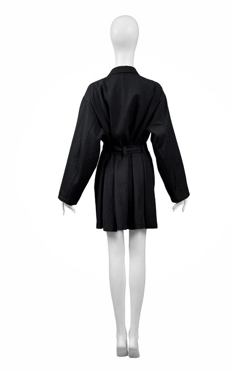 Women's Yohji Yamamoto Black Military Button Belted Coat For Sale