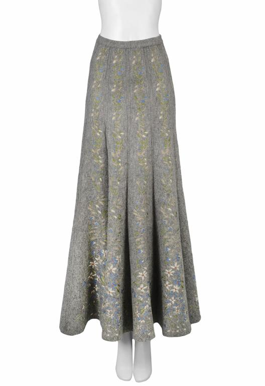 Alaia Iconic Grey Floral Instarsia Skirt 1990 3