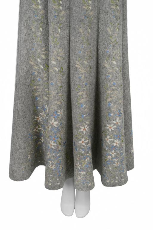 Alaia Iconic Grey Floral Instarsia Skirt 1990 4