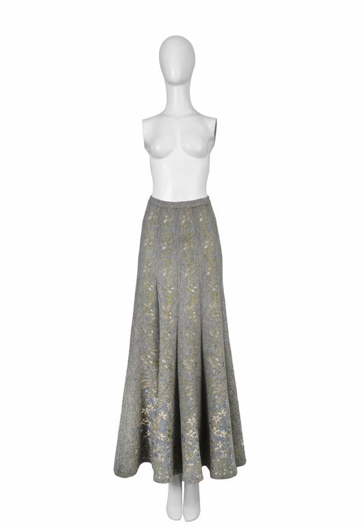 Iconic grey wool maxi skirt with floral pattern. Collection 1990. Please inquire for additional images.