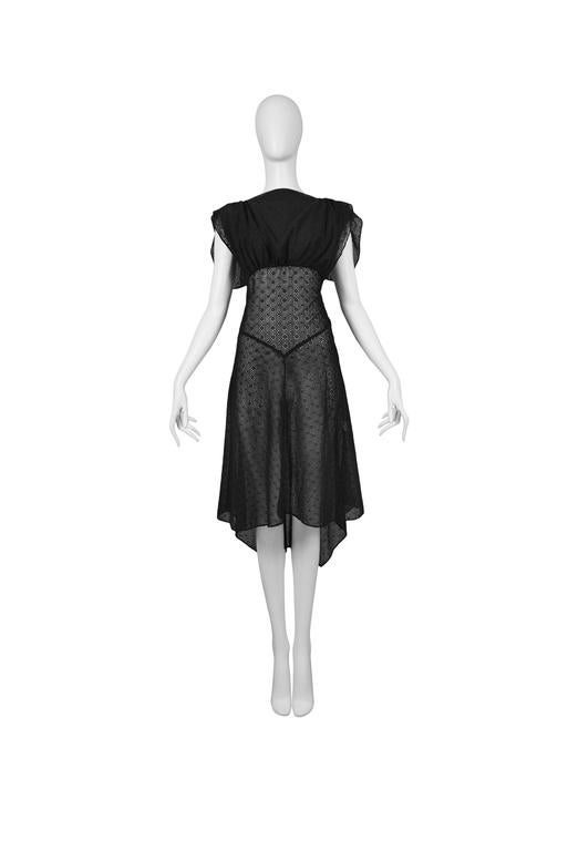 Alaia Black Eyelet Cotton Lace Summer Dress 2007 2