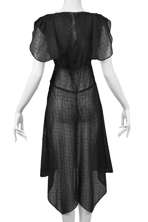 Alaia Black Eyelet Cotton Lace Summer Dress 2007 6