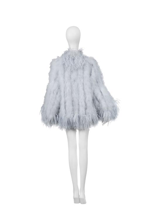 784b53fac1f Yves Saint Laurent Silver Grey Feather Coat In Excellent Condition For Sale  In Los Angeles,