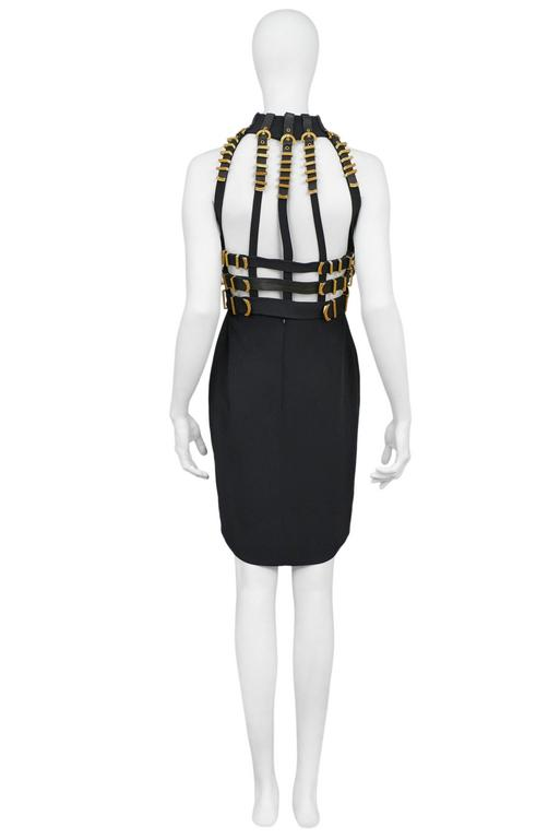 Women's Versace Black Bondage Dress 1992 For Sale