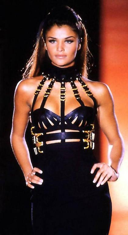 Versace Black Bondage Dress 1992 6