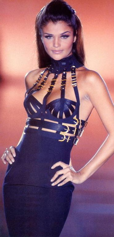 Versace Black Bondage Dress 1992 7