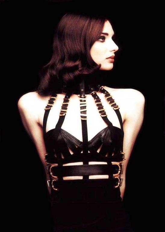 Versace Black Bondage Dress 1992 For Sale 1