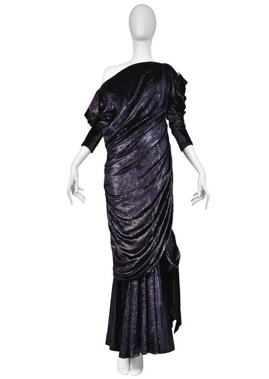 Black Yves Saint Laurent Couture Metallic Velvet Gown For Sale