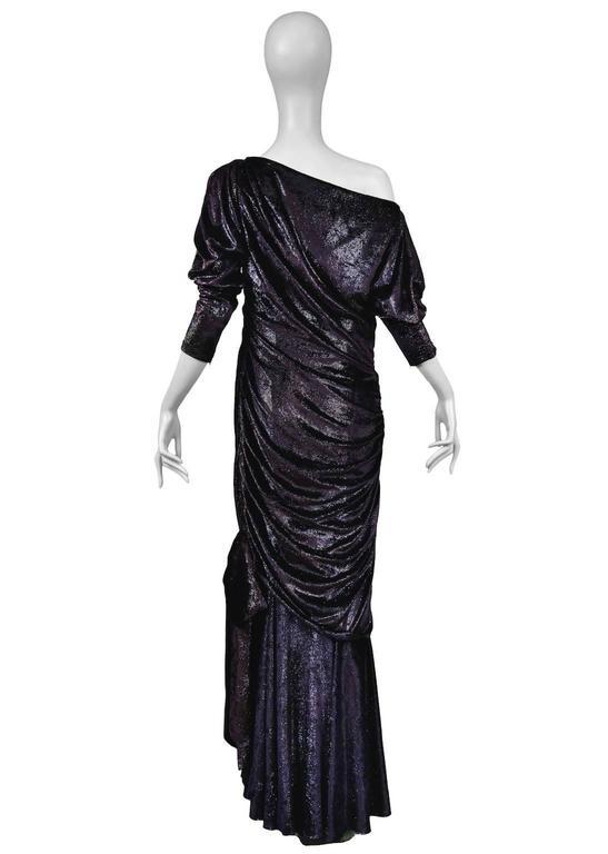 Women's Yves Saint Laurent Couture Metallic Velvet Gown For Sale
