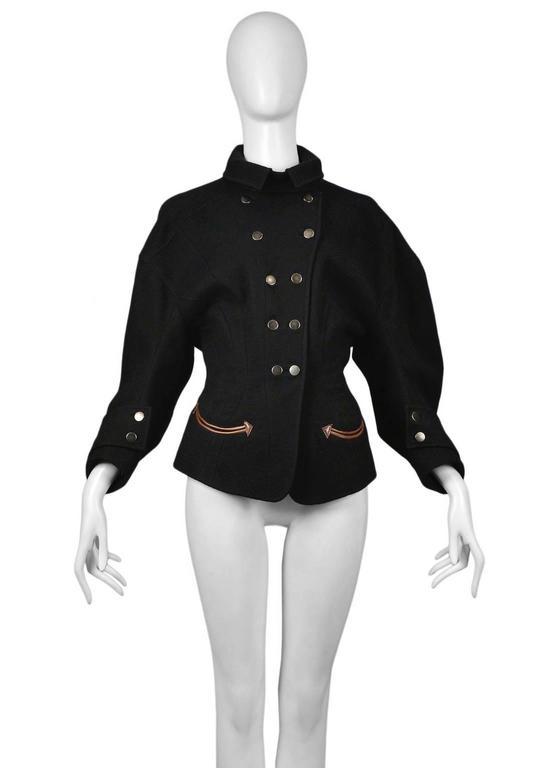Black Balenciaga Iconic Wool Western Jacket For Sale