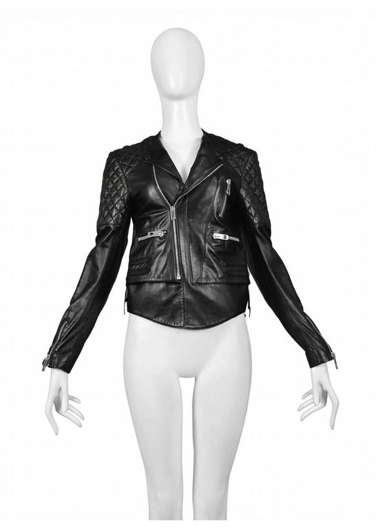 Vintage Nicolas Ghesquière for Balenciaga black leather motorcycle jacket featuring quilting at the shoulders and zipper pockets at either side.