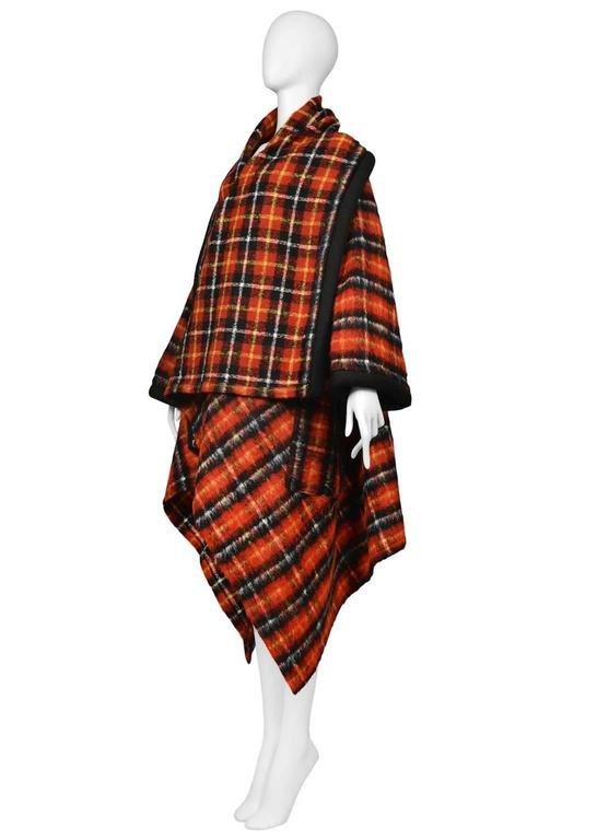 Black Jean Paul Gaultier Tartan Cape Coat For Sale