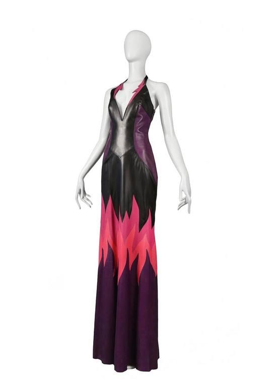 Thierry Mugler Leather Flame Gown In Excellent Condition For Sale In Los Angeles, CA