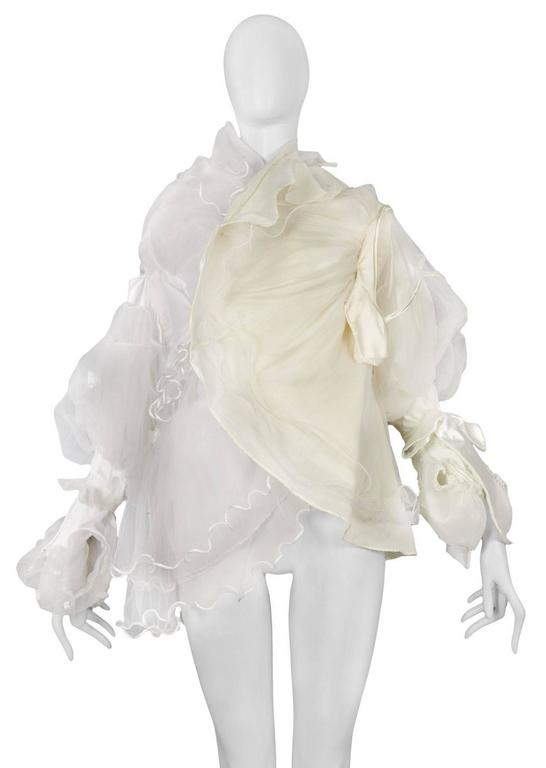 Vintage Maison Martin Margiela Artisanal White Tulle Ruffle Jacket. Vintage white tulle and cream satin gathered together to form ruffle jacket.