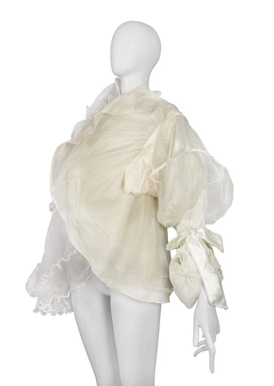 Maison Martin Margiela Artisanal White Tulle Ruffle Jacket In Excellent Condition For Sale In Los Angeles, CA