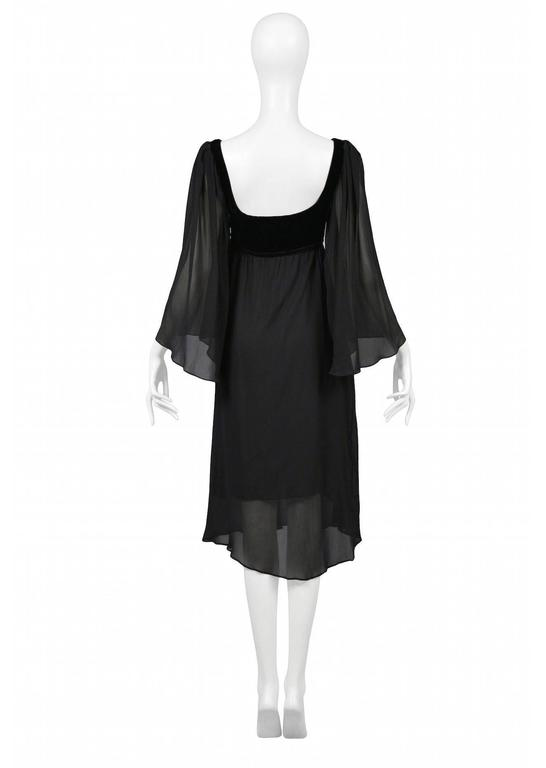 Yves Saint Laurent Black Empire Chiffon Dress In Excellent Condition For Sale In Los Angeles, CA