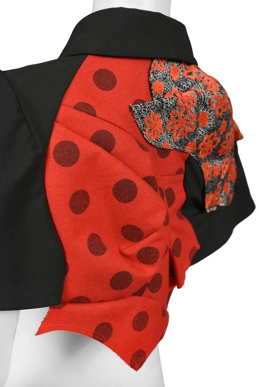 Women's Comme des Garcons Red and Black Cape SS 2009 For Sale
