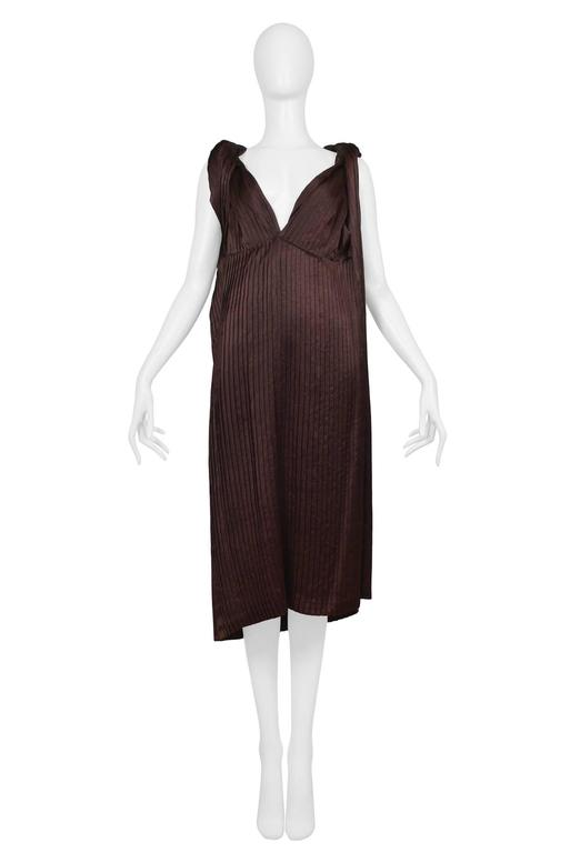 Comme des Garcons Brown Pleated Satin Dress 2