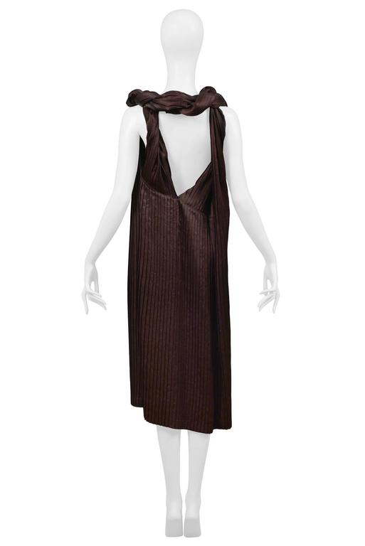 Comme des Garcons Brown Pleated Satin Dress 4